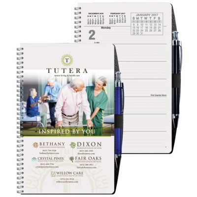 "Full Color Academic Weekly Planners w/ Pen Safe Back & Pen (5 1/4""x8 1/4"")"