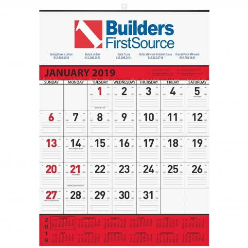 """Monthly Wall Calendars w/1 Image & 2 Color Imprint (18""""x25"""")"""