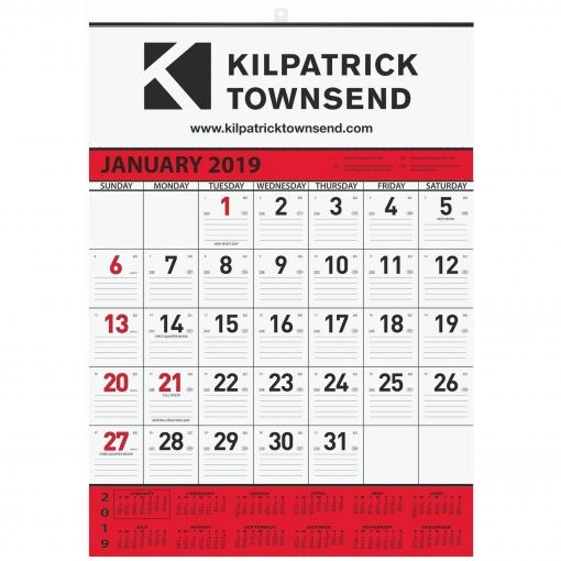 """Monthly Wall Calendars w/1 Photo & 1 Color Imprint (18""""x25"""")"""