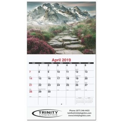 "Peaceful Peaks Monthly Wall Calendars w/Stapled (10 5/8""x18 1/4"")"