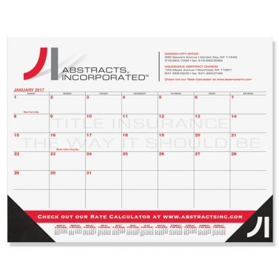 "Red & Black Calendar Desk Pads w/One Color Imprint (21 3/4""x17"")"