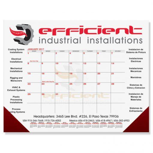 "Red & Black Calendar Desk Pads w/One Color Imprint (21 3/4""x17"")"