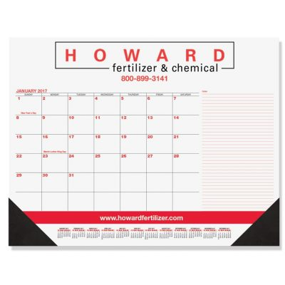"Red & Black Calendar Desk Pads w/Side Note Lines & One Color Imprint (21 3/4""x17"")"