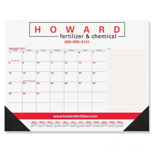 "Red & Black Calendar Desk Pads w/Side Note Lines & One Color Imprint (21 3/4""x17"")"