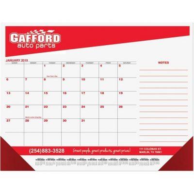 "Red & Black Calendar Desk Pads w/Side Note Lines & Two Color Imprint (21 3/4""x17"")"