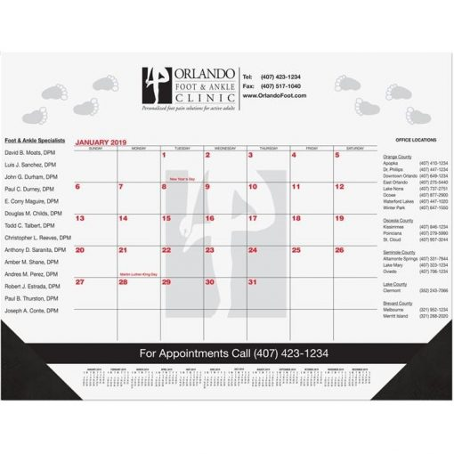 "Red & Black Calendar Desk Pads w/Two Color Imprint (21 3/4""x17"")"