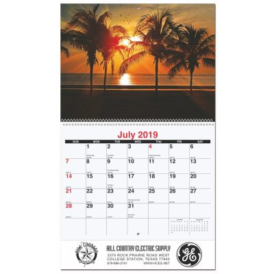 "Serene Sunsets Monthly Wall Calendars w/Coil Bound (10 5/8""x18 1/4"")"