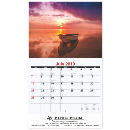 "Serene Sunsets Monthly Wall Calendars w/Stapled (10 5/8""x18 1/4"")"