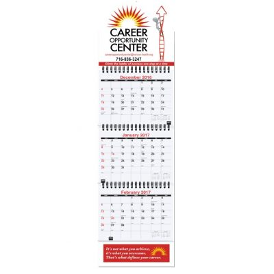 "Small Three Month at a Glance Calendars w/Apron (6""x20 3/4"")"