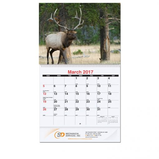 """Wildlife Monthly Wall Calendars w/Coil Bound (10 5/8""""x18 1/4"""")"""