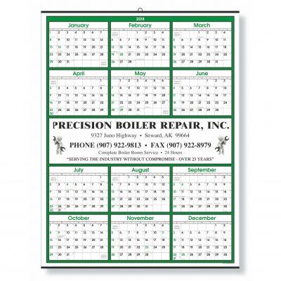Green Border Modern Yearly Calendar w/ Center Ad Copy