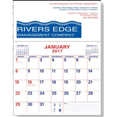 Red/Blue Large Memo Apron Calendar