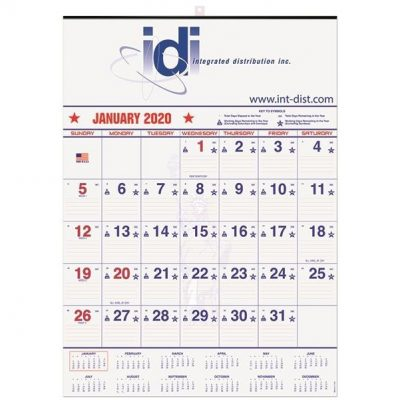 "Patriotic Red & Blue Contractor Calendars w/1 Image & 1 Color Imprint (18""x25"")"