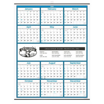 Blue Border Modern Yearly Calendar w/ Center Imprint