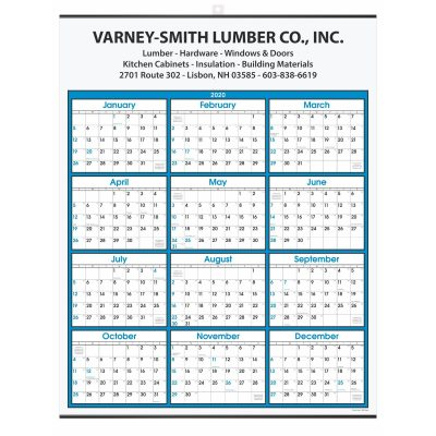 Blue Border Modern Yearly Calendar w/ Top Imprint