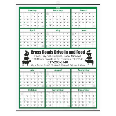 Green Border Modern Yearly Calendar w/ Center Imprint
