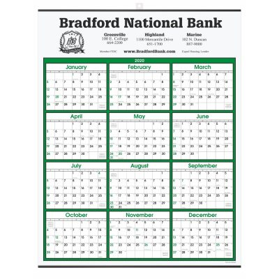 Green Border Modern Yearly Calendar w/ Top