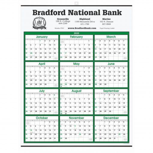 Green Border Modern Yearly Calendar w/ Top