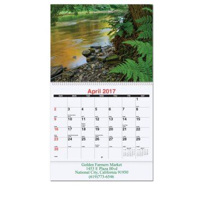 "Waterways Monthly Wall Calendars w/Coil Bound (10 5/8""x18 1/4"")"