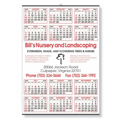 Year-at-a-Glance Calendar w/ Center Imprint