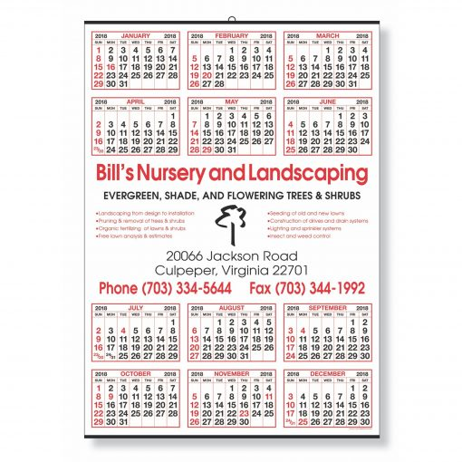 Year-at-a-Glance Calendar w/ Center Imprint