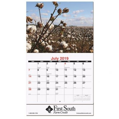 "Agriculture Monthly Wall Calendars w/Stapled (10 5/8"" x 18 1/4"")"