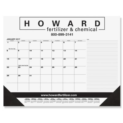 "Black Calendar Desk Pads w/Side Notes Line & One Color Imprint (21 3/4"" x 17"")"