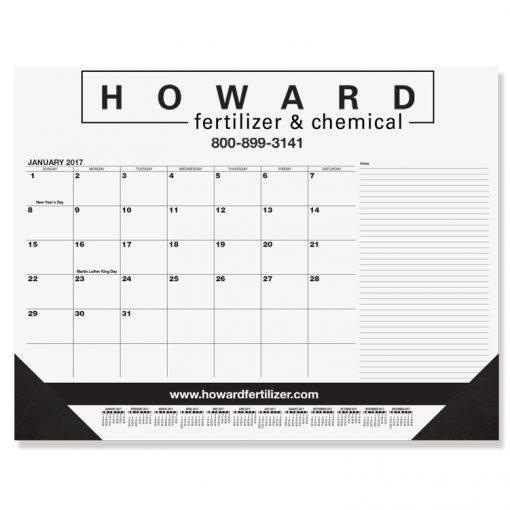 "Black Calendar Desk Pads w/Side Notes Line & One Color Imprint (21 3/4"" x 17"")"