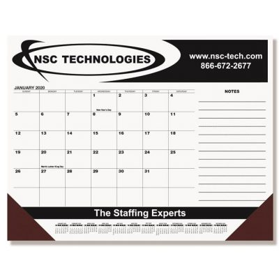 "Black Calendar Desk Pads w/Side Notes Line & Two Color Imprint (21 3/4"" x 17"")"