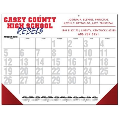 "Black Calendar Desk Pads w/Two Color Imprint (21 3/4"" x 17"")"