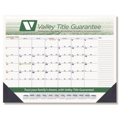 """Black & Gold Calendar Desk Pads w/Two Color Imprint (21 3/4"""" x 17"""")"""