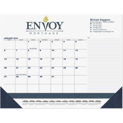 """Blue & Black Calendar Desk Pads w/Side Note Lines & Two Color Imprint (21 3/4"""" x 17"""")"""