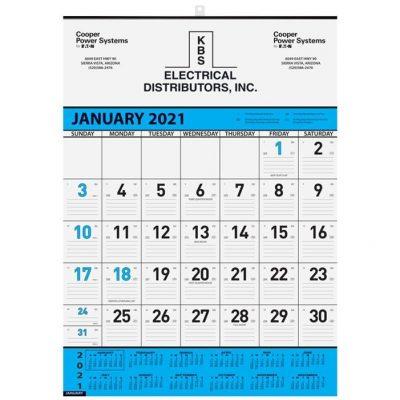 "Blue Contractor Calendars w/1 Image (18"" x 25"")"
