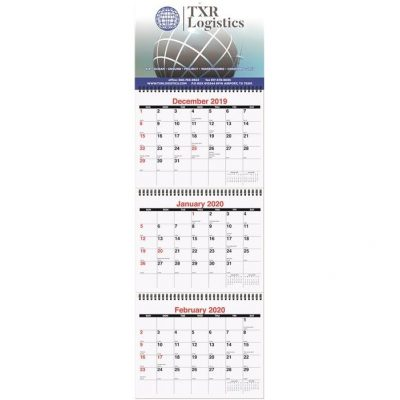 "Large Three Month at a Glance Calendars (10 3/4"" x 33 3/4"")"