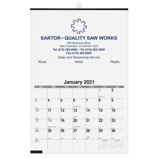 """Monthly Wall Calendars w/1 Image (12 1/4"""" x 18 1/2)"""