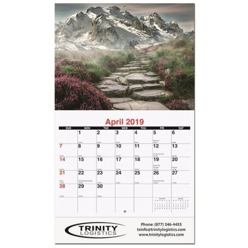 "Peaceful Peaks Monthly Wall Calendars w/Stapled (10 5/8"" x 18 1/4"")"