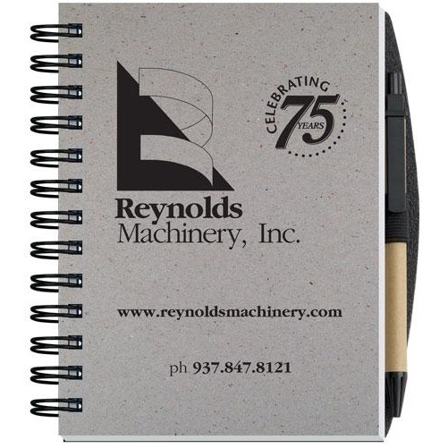 "Recycled Journals w/Pen Safe Back Cover (5"" x 7"")"
