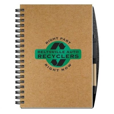 "Recycled Journals w/Pen Safe Back Cover (7"" x 10"")"