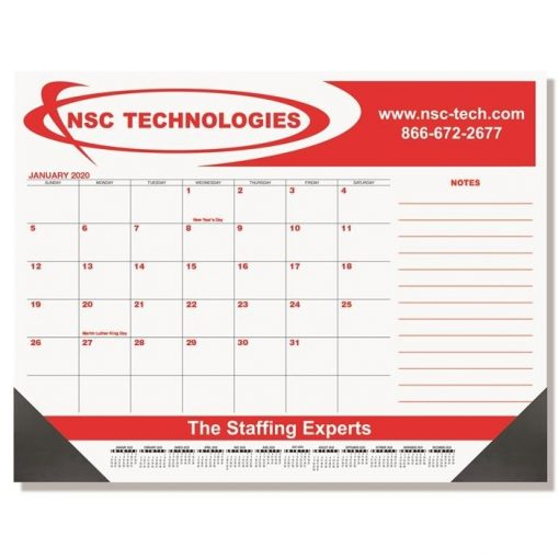 "Red & Black Calendar Desk Pads w/Side Note Lines & Two Color Imprint (21 3/4"" x 17"")"