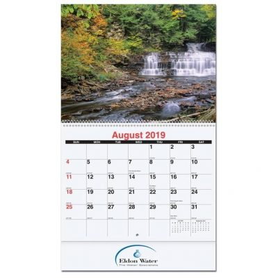 "Scenic Water Monthly Wall Calendars w/Stapled (10 5/8"" x 18 1/4"")"
