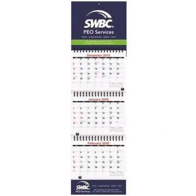 "Small Three Month at a Glance Calendars w/Apron (6"" x 20 3/4"")"