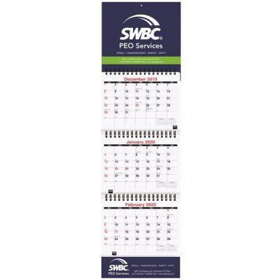 "Small Three Month at a Glance Calendars w/Apron (6"" x 20 3/4"")"
