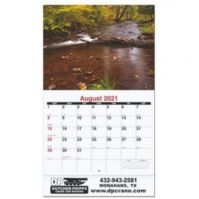 "Waterways Monthly Wall Calendars w/Stapled (10 5/8"" x 18 1/4"")"