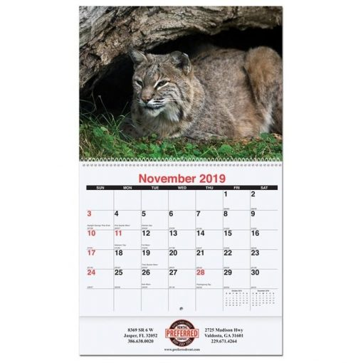 """Wildlife Monthly Wall Calendars w/Coil Bound (10 5/8"""" x 18 1/4"""")"""