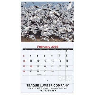 "Wildlife Monthly Wall Calendars w/Stapled (10 5/8"" x 18 1/4"")"