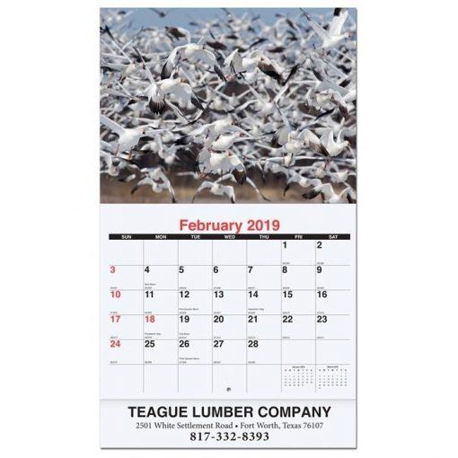 "Wildlife Monthly Wall Calendars w/Stapled (10 5/8"" x 18 1/4"")"