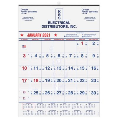 "Patriotic Red & Blue Contractor Calendars w/1 Image & 1C Imprint (18"" x 25"")"