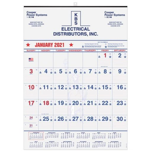"Patriotic Red & Blue Contractor Calendars w/1 Image & 1C Imprint (18"" x 25"")"