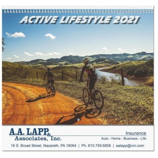 """Active Lifestyle Monthly Wall Calendar w/Coil Binding (10 5/8"""" x 18 1/4"""")"""