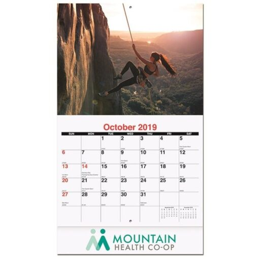 """Active Lifestyle Monthly Wall Calendar w/Staples (10 5/8"""" x 18 1/4"""")"""